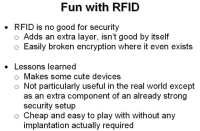 Lessons learned from using RFID
