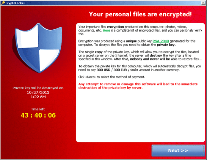 CryptoLocker, the original version