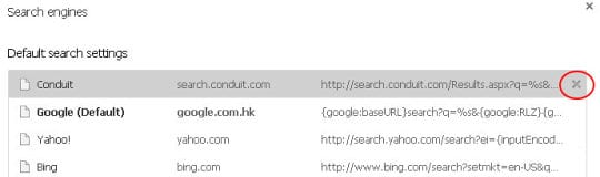 Delete Conduit from the list of search engines