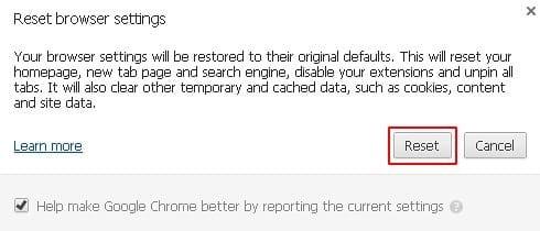 Finish resetting Chrome