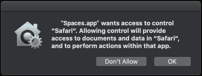 Spaces.app, an adware setting SearchBaron hoax in motion