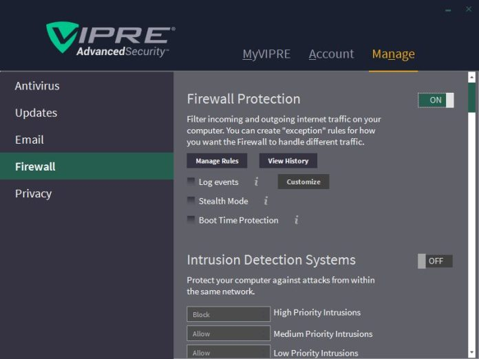 Firewall on, Intrusion Detection Systems and Process Detection still off