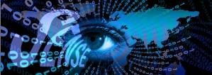 surveillance eye map with binary code