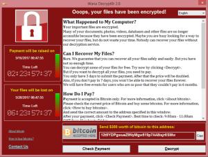 WannaCry ransomware screenshot bitcoin