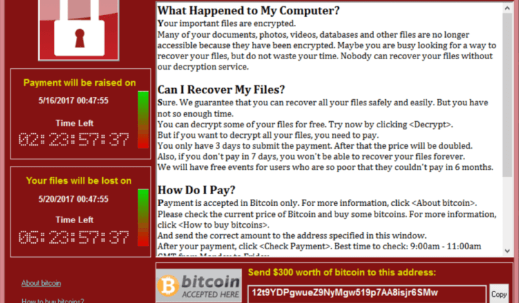 WannaCry ransomware screenshot bitcoin