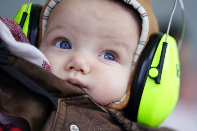 A baby wears earmuffs during a union rally in Berlin, Germany, 29 January 2019. Educators and social workers of public day-care centers were called to a warning strike in Berlin. The collective bargaining partners are currently negotiating a new collective agreement in the civil service. EPA/ALEXANDER BECHER
