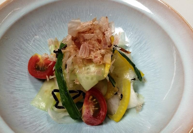 夏野菜、和サラダ、塩こんぶ、鰹節