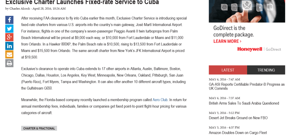 Exclusive Launches Fixed-rate Service to Cuba