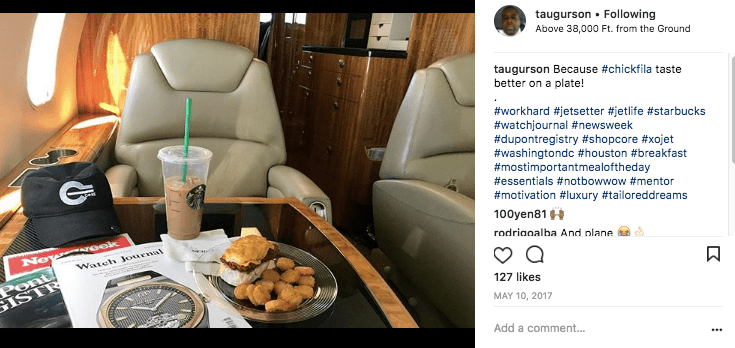 Chick-Fil-A and Starbucks on a private jet