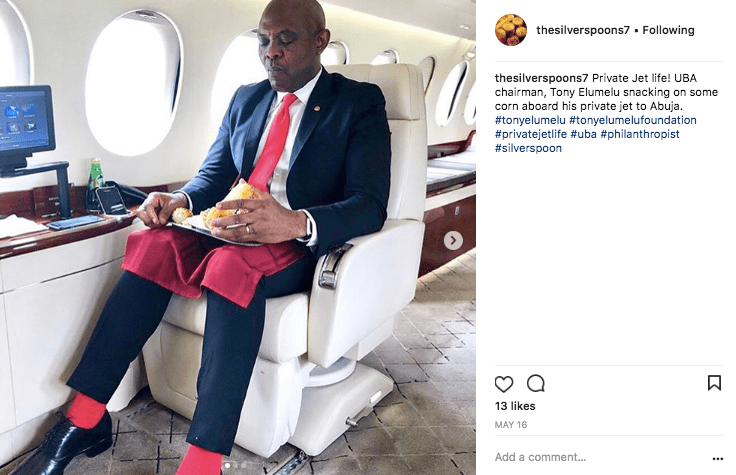 Tony Elumelu on a Dassault Falcon private jet