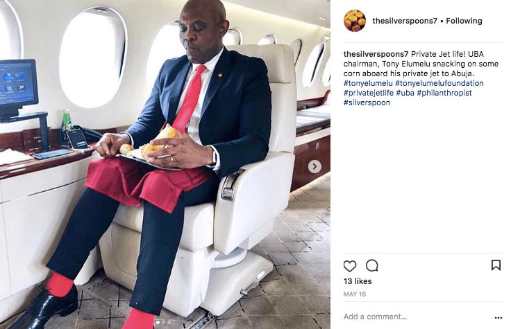 Tony Elumelu on a Dassault Falcon private jet