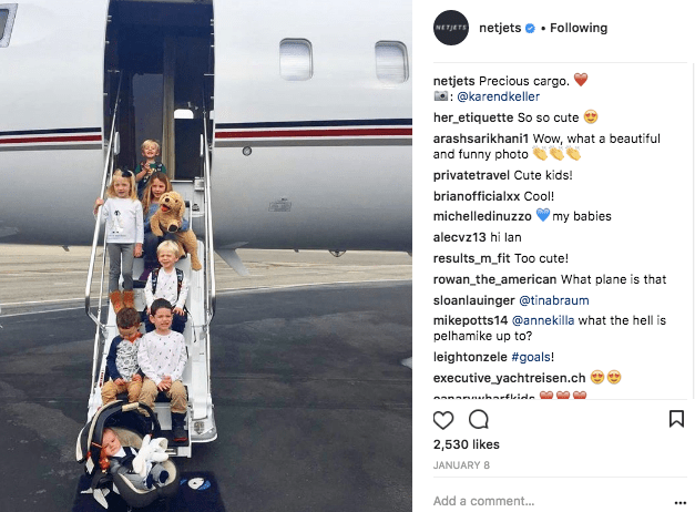 NetJets private jet with seven kids