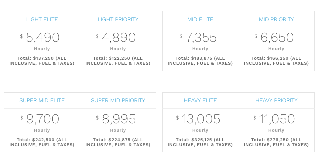 PJS jet card pricing begins at $4,890 per hour