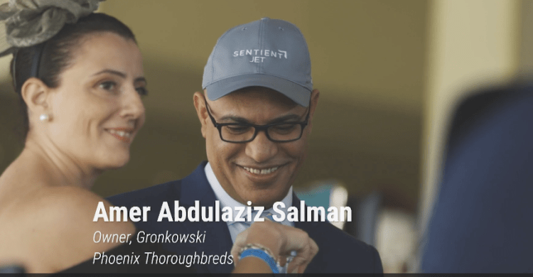 Horse racing owner Amer Abdulaziz Salman at The 2018 Belmont Stakes with Sentient Jet