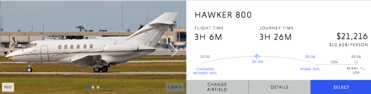 Hawker 800xp charter price.png