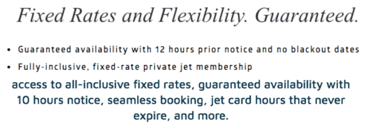 Jet cards with fixed rates and guaranteed availability