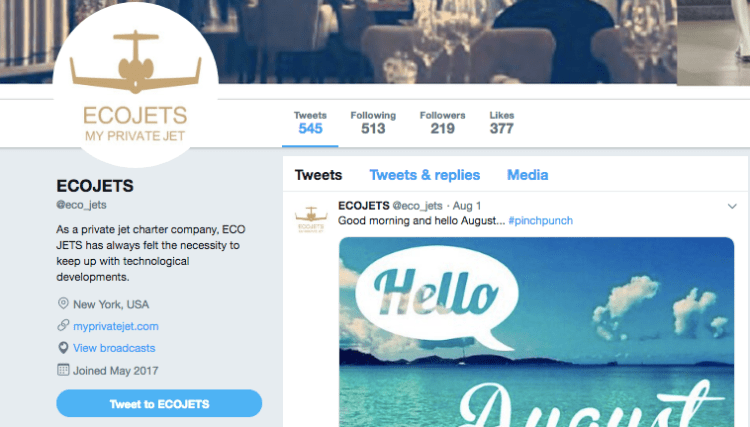 Ecojets on Twitter
