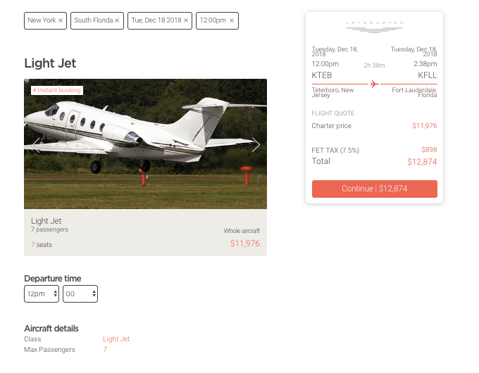 private jet charter pricing
