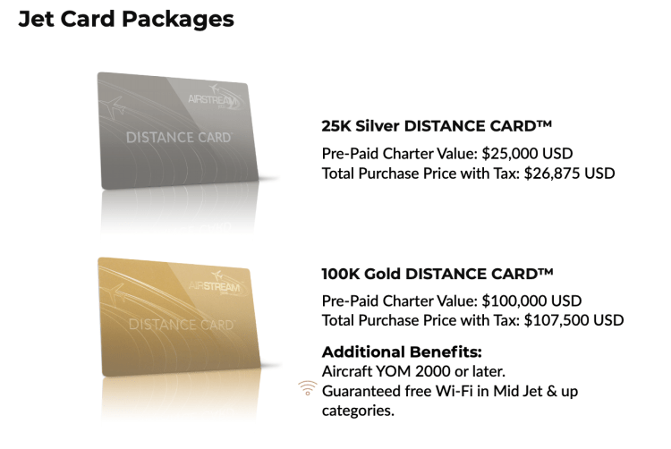 Airstream Jet Distance Card pricing