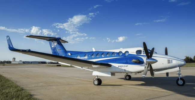 Wheels Up blue livery King Air 350i