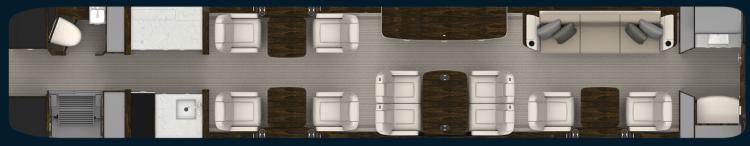 Gulfstream G500 interior cabin layout
