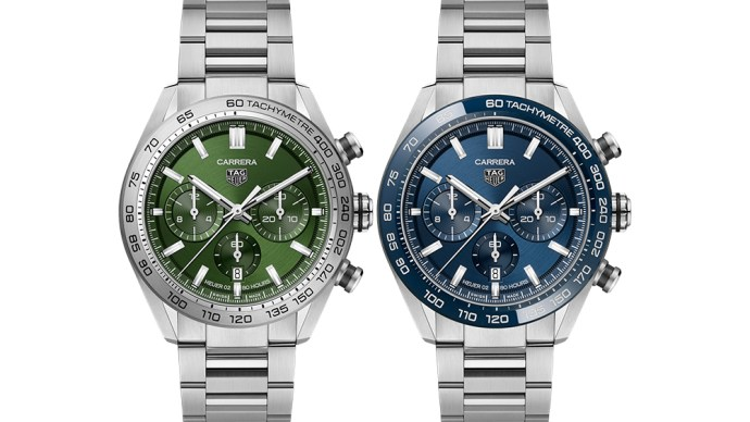 Tag Heuer's new Carrera Chronograph is also available with a green or blue dial.
