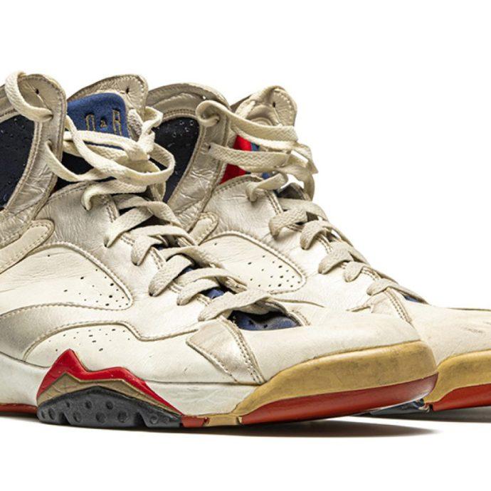 "The Air Jordan 7 ""Olympic"" sneakers were worn in a 1992 game against Croatia."