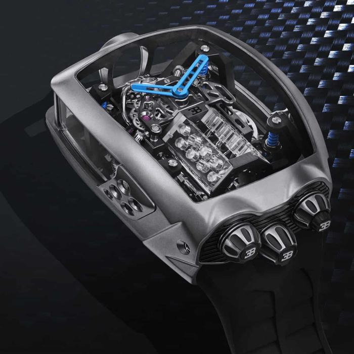 Jacob & Co.'s Bugatti Chiron Tourbillon Comes with a Tiny Working W16 Engine