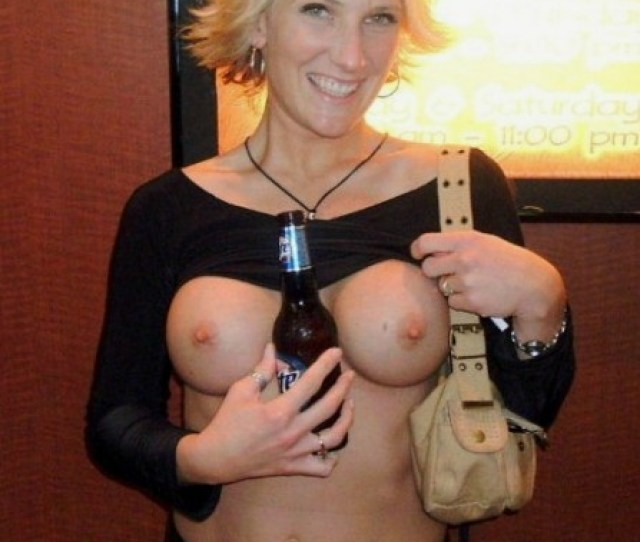 Hot Amateur Milf Babe Having A Beer With Her Perky Tits Out