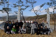 Retreat attendees and monks