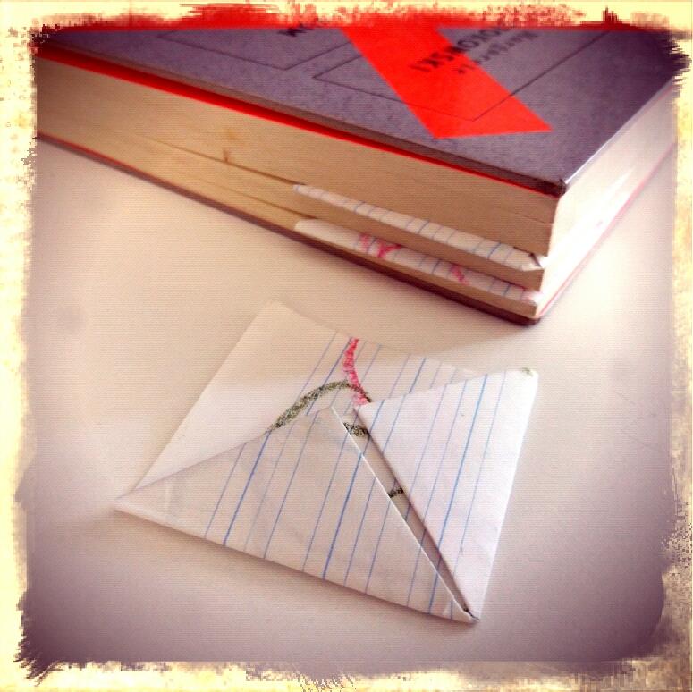Origamiecken als Lesezeichen