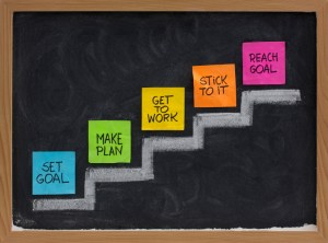 set goal, make plan, work, stick to it, reach concept presented on blackboard with color notes and white chalk