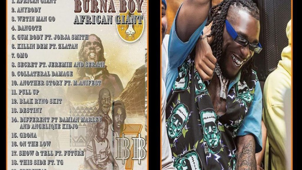 Burna Boy African Giant Album; Burna Boy releases his 19-track Album titled 'African giant' and the whole world is going crazy about it, He featured Us based Future, YG and