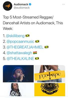 Shatta wale earns 4th spot on Audiomack's most streamed dancehall artists