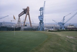 Company golf course reserved for visiting shipowners. Hyundai shipyard. (from Fish Story, Chapter 4), 1988-1995 edition of 5.