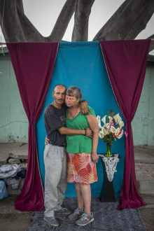 Alexia Webster, Jesus Gonzales Tejada, 40, a Mexican American who was deported from the United States and Rhonda Moore, 54, an American nurse, pose...