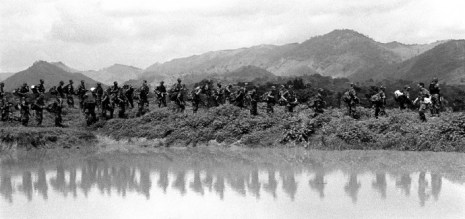 Tierralta-Cordoba. A group of AUC (United Self-defense Forces of Colombia) paramilitaries premare to march to the area where they will hold a...
