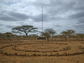 Flag pole and assembly circle, Daaba Primary School (Turkana tribe), Nakuprat-Gotu Community Conservancy