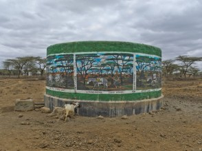 Water tank near Daaba Primary School (Turkana tribe), Nakuprat-Gotu Community Conservancy