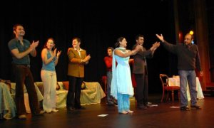 Priya on stage with acting group peers- New Zealand 2007