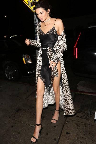 Kendell Jenner in Black slip and animal print robe