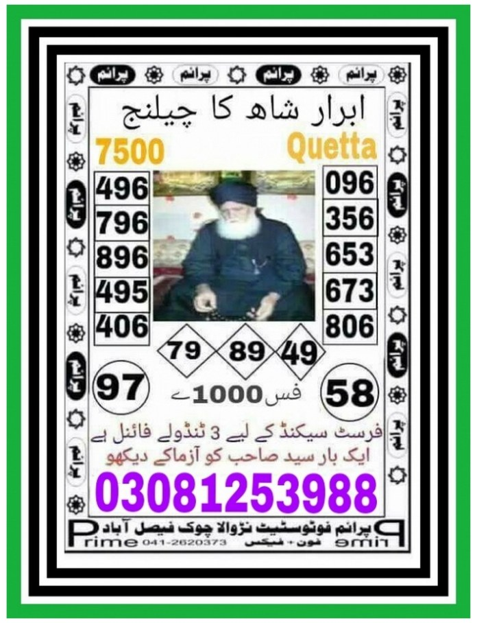 Abrar Shah ka Challenge 7500 Prize bond Guess Papers 2018