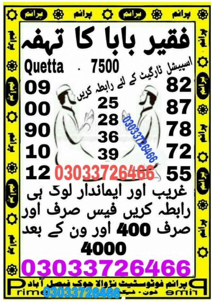 Faqeer Baba Ka Tohfa 7500 Prize bond Guess Papers 2018