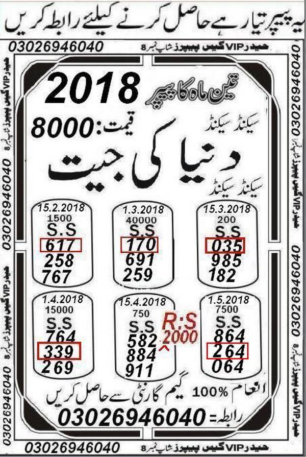 Rs.1500 Prize bond Guess Papers May 2018 (2)