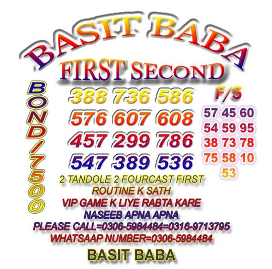 Basit Baba 7500 Prize Bond Guess Paper August 2018