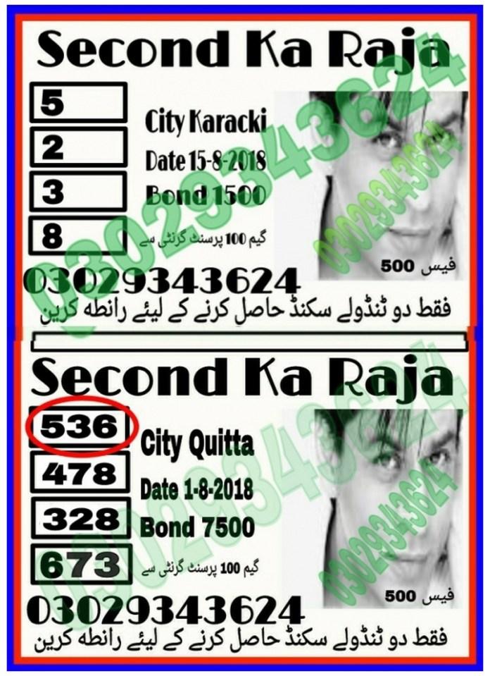 waheed shah 2nd Ka Raja 1500 Prize bond Guess Papers August, 2018 Karachi