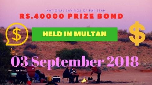 Prize Bond List 40000, 3rd September 2018 Multan on Monday