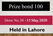 Draw 30, Rs. 100 Prize Bond List, Lahore On 15-05-2020