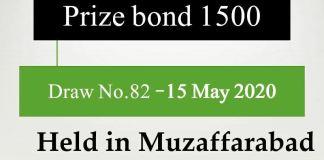 Draw No.82 Rs 1500 Prize bond list Results 15 May 2020 Muzaffarabad