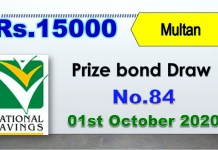 15000 Prize Bond List Draw 01 October 2020 Result